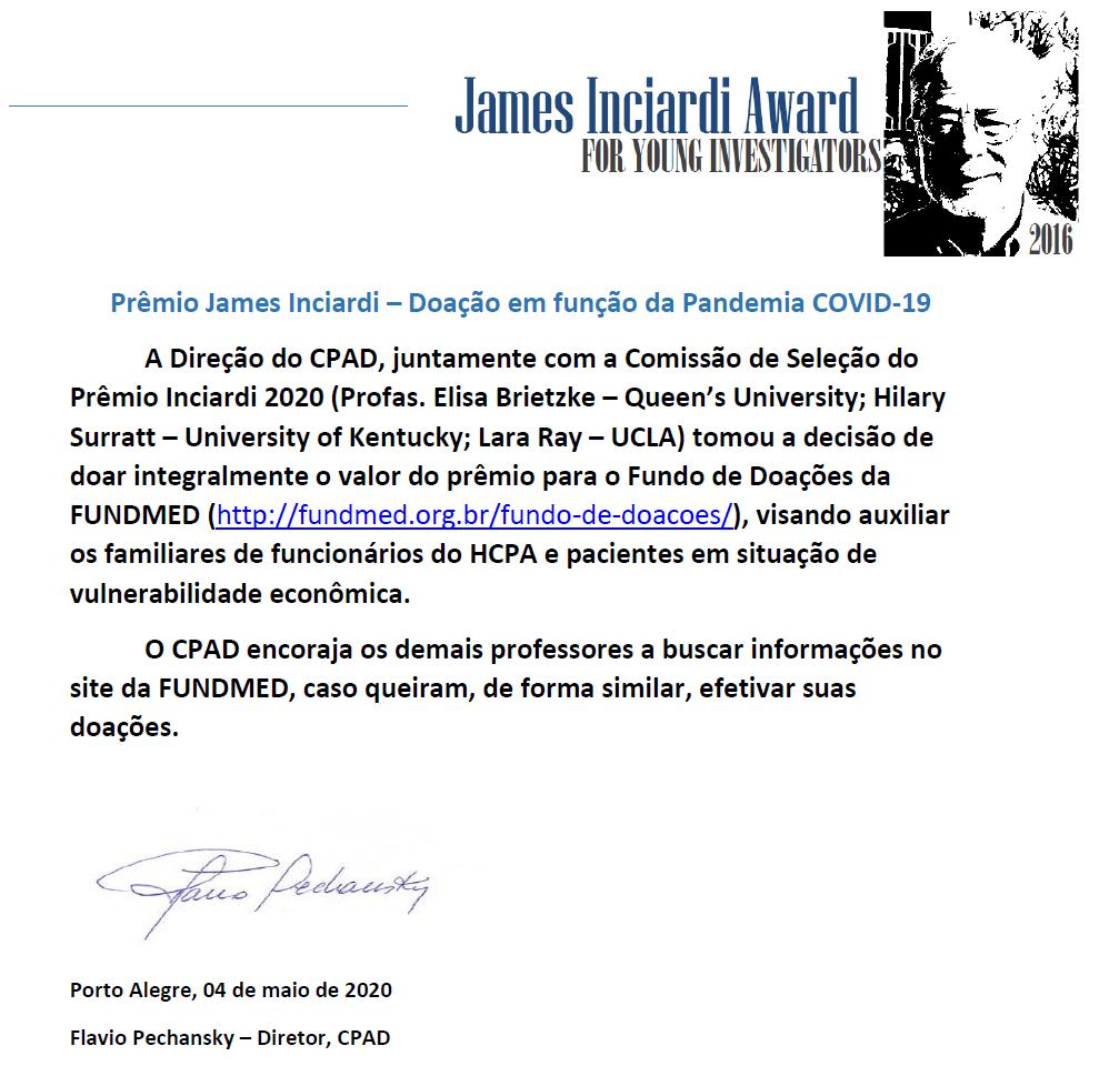 Doação do Prêmio Inciardi 2020