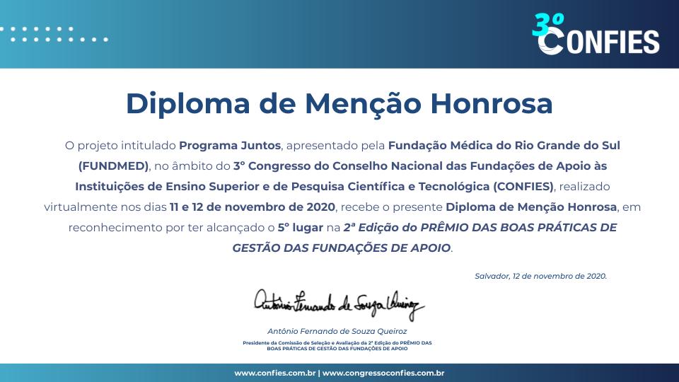 Diploma de Menção Honrosa do Prêmio do 3º CONFIES